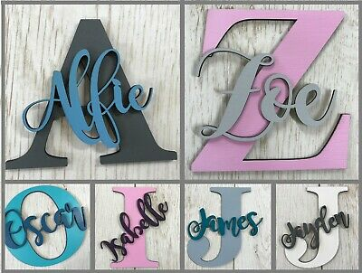 *ANY NAME & COLOUR* Personalised Painted Wooden Letter With Script Name • 4.99£