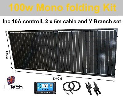 £109.95 • Buy 12v 100W Folding Mono Blk Solar PV Panel Complete Kit Inc Controller & Cable.