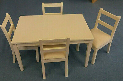 Dolls House 1:12 Scale White Table And Four Chairs Dining Kitchen Accessory • 19.95£