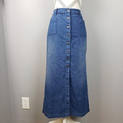 e738e874b68 J Jill Denim Jean Skirt Sz 10 Long Maxi Button Front Back Slit Blue Boho  Modest