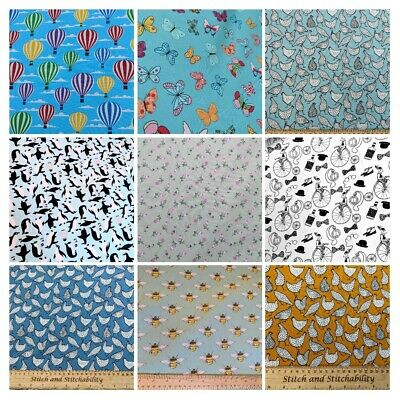 £2.70 • Buy Rose And Hubble Cotton Poplin Fabric,Hen,Butterfly,Balloon,Penguin,Bee,floral