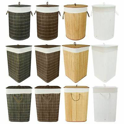 Folding Bamboo Laundry Hamper Basket Storage Bin Dirty Clothes Washing Bag • 9.98£