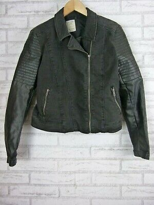 AU55 • Buy Bershka DENIM COLLECTION Jacket Biker Style Sz L Black