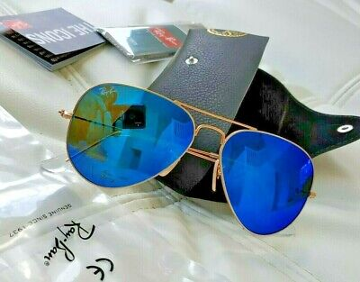 ae5afd78499a 100%genuione Ray-Ban AVIATOR Blue Mirrored Gold Mate Frame Lens 3025 58mm
