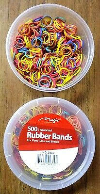 Lot Of 2 Can--500 Assorted Color Rubber Band For Ponytails & Braids-no 2800 • 6.49$
