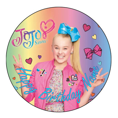 AU12 • Buy JoJo Siwa Personalised Edible Birthday Party Cake Decoration Topper Round Image