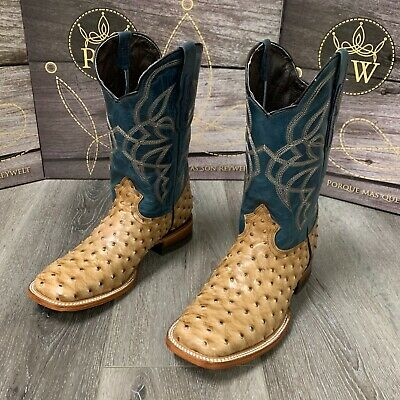 $99.99 • Buy Men's Brown Ostrich Quill Leather Western Rodeo Exotic Cowboy Square Toe Botas