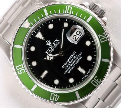 $ CDN12959.44 • Buy Rolex Submariner Date 16610 S/Steel Custom Green Bezel Black Dial 40mm Watch