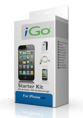 IGo Kit For Apple IPhone 4 / 3 USB Car Charger Sync Cable Screen Protector • 1.49£