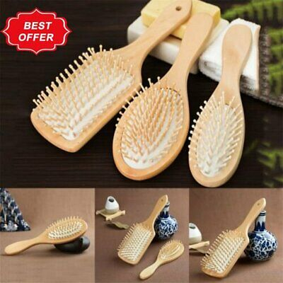 AU5.08 • Buy Bamboo Wooden Hair Brush Anti-Static Oval Head Meridian Massage Combs Y1