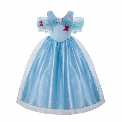 Toddler Girl Fancy Dress Blue Tulle Dresses Cinderella Deluxe Costume Show Dress • 7.49£