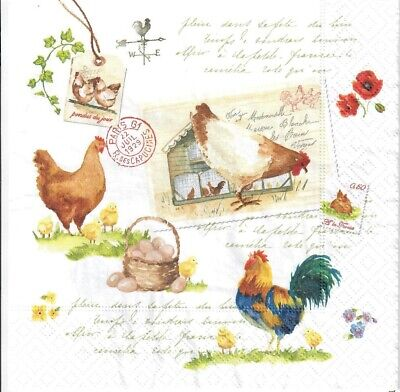 4 Single Paper Decoupage Napkins. Hen, Hens, Country Life, Eggs, Easter -727 • 1.40£