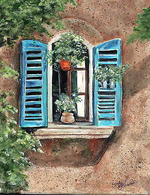 French Style Window With Pretty Plants 8 X 10 Print Of Original Acrylic Painting • 7.69£