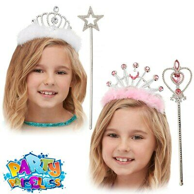 Girls Princess Tiara Fairy Tale Wand Costume Accessories Kids Fancy Dress Outfit • 3.99£