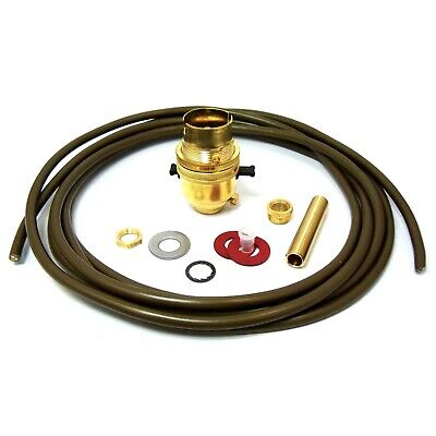 BC Brass Switched Lamp Holder Rewire Kit Flex 10mm Threaded Rod Washers Hex Nuts • 9.20£