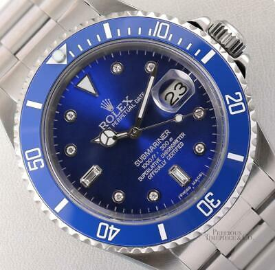 $ CDN12959.44 • Buy Rolex Submariner 16610 Date Stainless Steel 40mm-Blue Ceramic-Blue Diamond Dial