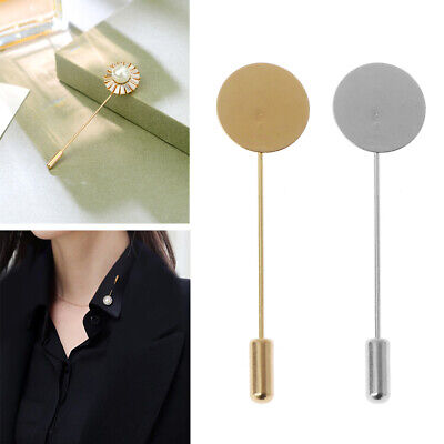 £2.44 • Buy 10Pcs Round Tray Lapel Stick Brooch Pin Suit Hat Scarf Badge Costume Jewelry DIY