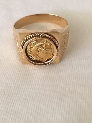 £2400 • Buy Ancient Greek Coin Alexander The Great In 18K Gold Handmade Ring