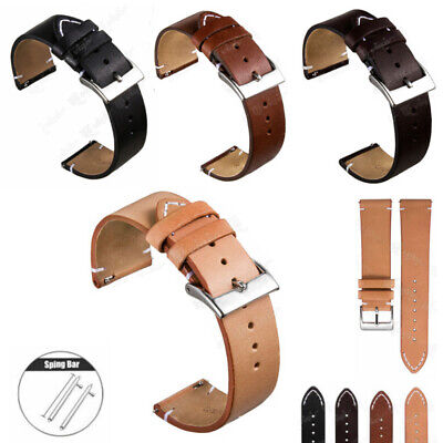 $ CDN10.62 • Buy 12mm - 24mm Vintage Hand-Stitched Mens Leather Watch Band - Quick Release Strap
