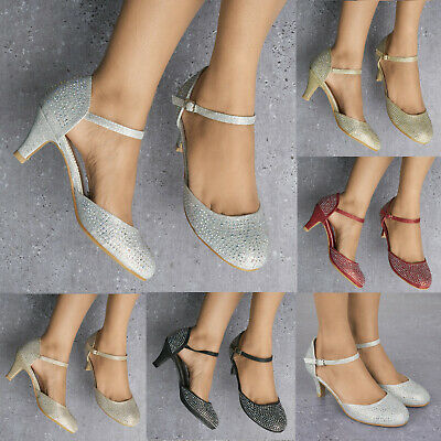 £21.99 • Buy Ladies Sparkly Glitter Diamante Detail Low Heel Ankle Strap Evening Shoes 3-8