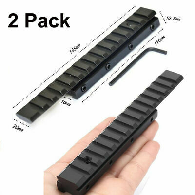 2x Dovetail 11mm To 20mm Weaver Picatinny Rail Mount Adapter Extension For Scope • 17.99£
