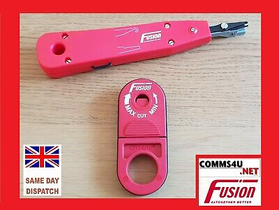 CYCLOPS + IDC TOOL Cable Stripper Cutter Punch Down Cat5e Data Voice Fibre RED • 18.99£