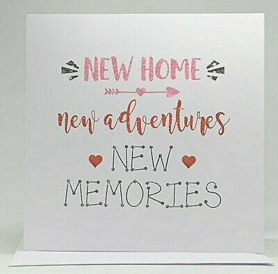 New Home New Adventures New Memories - Moving In Card, Blank Inside, White 6 X6  • 2.99£