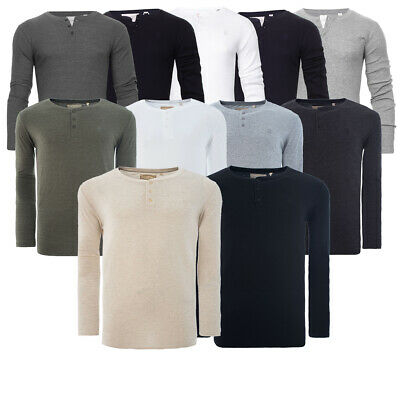 Men Grandad T Shirt Long Sleeve Jersey Ribbed Tee Top Cotton Rich Soul Star • 11£