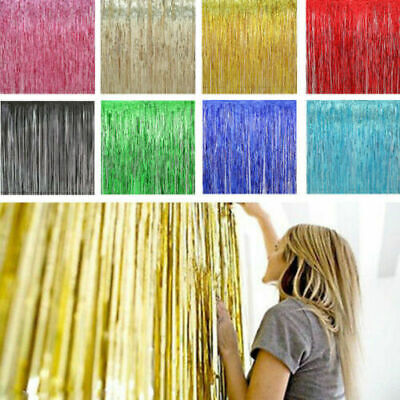 $3.53 • Buy Foil Fringe Curtains Backdrop Party Decor Photo Booth Support 1*3M /MY