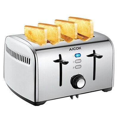AU44.95 • Buy Aicok 4 Slice Automatic Toaster Stainless Steel Extra Wide Slots 1700W