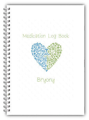 £6.95 • Buy New A5 Personalised Medication Record Log Book Diary Planner Gift 50 Pages 01