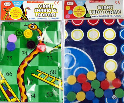 Giant Ludo And Giant Snakes And Ladders Family Traditional Outdoor Game Gift • 6.29£