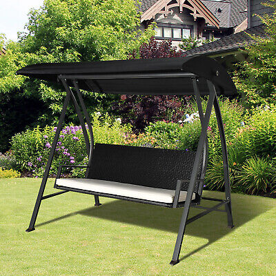 View Details Outsunny Outdoor Garden Rattan Swing Chair Swinging Hammock 3 Seater Bench • 185.99£