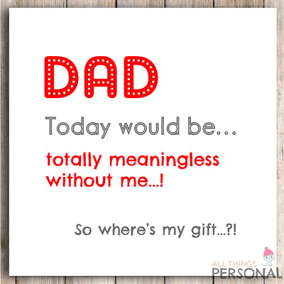 £2.99 • Buy Funny Fathers Day Card Joke Father's Day Card Humour Dad Card Banter Rude Card