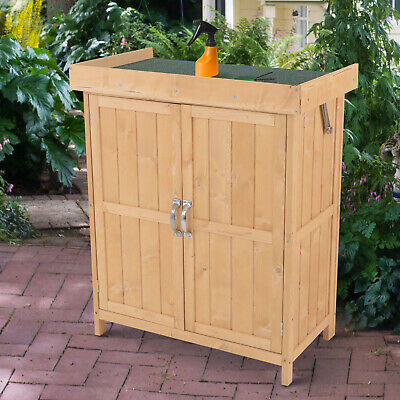 Outsunny Wooden Garden Shed Double Door Cupboard Hinged Roof Tool Storage House • 84.99£
