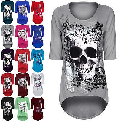Plus Size Ladies Womens Butterfly Skull 3/4 Sleeve Dipped Hem Tunic High Low Top • 6.64£