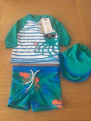 Rrp £20 Bnwt Marks And Spencers 3 Piece Uv Suit 18-24 Months • 11.99£