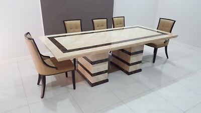 AU2999 • Buy Beige Marble Dining Table With 8 Chairs, BRAND NEW