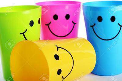 8 X Smiley Face Cups Childrens Kids Plastic Party Garden Beach Mugs  • 5.99£