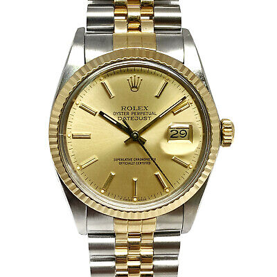 $ CDN6950.32 • Buy [Cert] Rolex Datejust 16013 Champagne 18k Gold Steel Vintage Watch (1987)