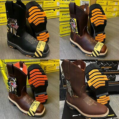 $64.99 • Buy Men's Square Steel Toe Work Boots Genuine Soft Leather Cowboy Pull On Botas
