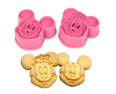 Minnie & Mickey Mouse Cookie Cutter Baking Bake Stencil Mould Set Of 2 Cake Make • 3.95£
