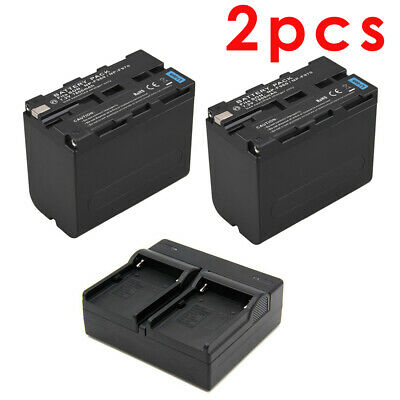 AU60.90 • Buy 2pcs NP-F970 7800mAh 7.2V Battery + Dual Slot Battery Charger For Sony Camcorder
