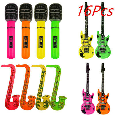 16Pcs Inflatable Music Instruments Guitar Saxophone Microphone Blow Up Fun Prop • 10.99£