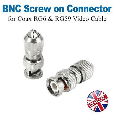 BNC Screw Twist On Connector Adapter Plug For Coaxial RG6&59 CCTV Camera Cable • 3.49£