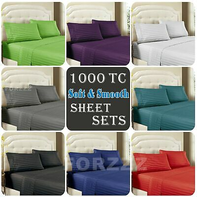 AU27.90 • Buy 1000TC Stripe 4 Pieces Flat Fitted Sheet Set Single/KS/Double/Queen/King Bed