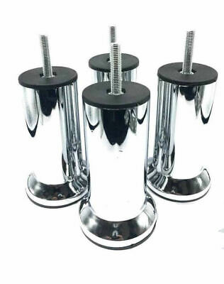 4x METAL CHROME LEGS FURNITURE FEET SOFA BEDS CHAIRS STOOLS CABINET 120mm HEIGHT • 9.99£