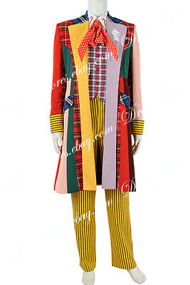 £113.99 • Buy Doctor Who Cosplay Costume The 6th Dr Colorful Lattice Stripe Coat Suit Outfit