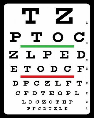 Eye Sight Chart Eyesight Optician Glasses Spectacles Metal Sign Tin Plaque 292 • 6.99£