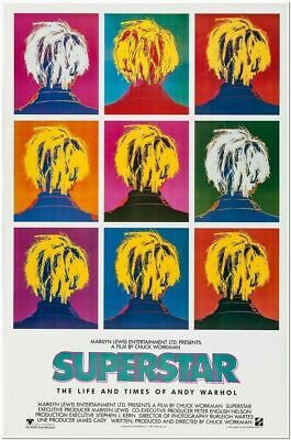 $75 • Buy SUPERSTAR: LIFE AND TIMES OF ANDY WARHOL - 1990 - Original 27x40 Movie Poster